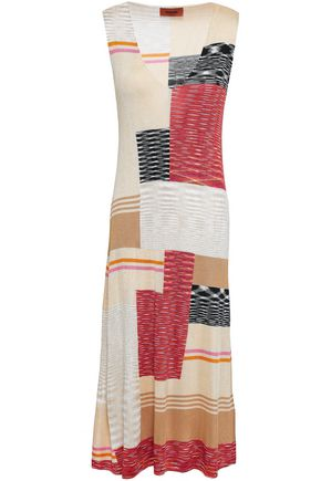 MISSONI Patchwork-effect stretch-knit midi dress