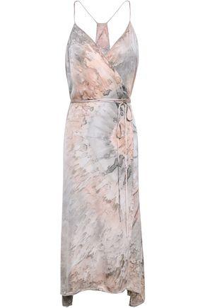 ENZA COSTA Printed satin midi wrap dress
