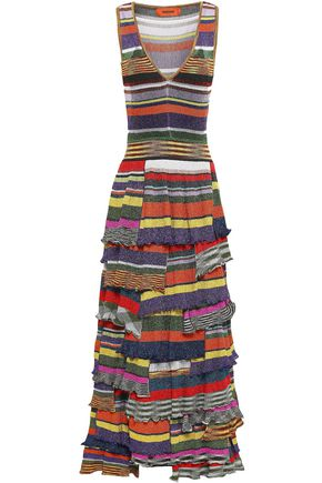 MISSONI Tiered metallic printed ribbed-knit maxi dress