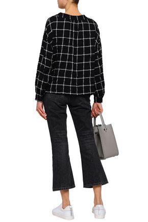 ENZA COSTA Checked cotton-blend flannel blouse