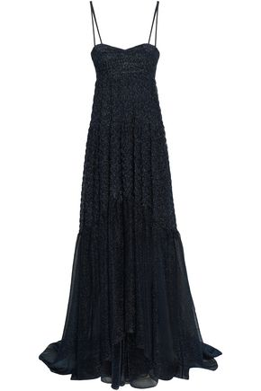 MISSONI Strapless metallic crochet-knit maxi dress