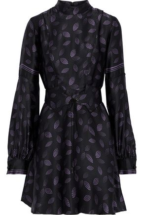 ANNA SUI Belted printed silk-satin mini dress