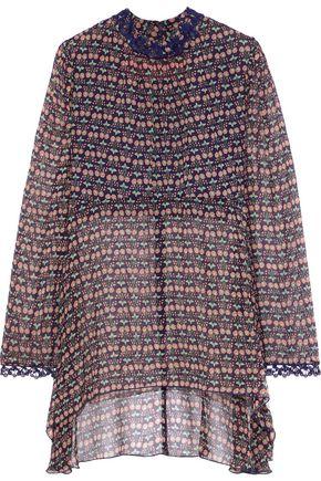 ANNA SUI Lace-trimmed floral-print silk-georgette blouse
