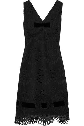 ANNA SUI Velvet-trimmed guipure lace mini dress