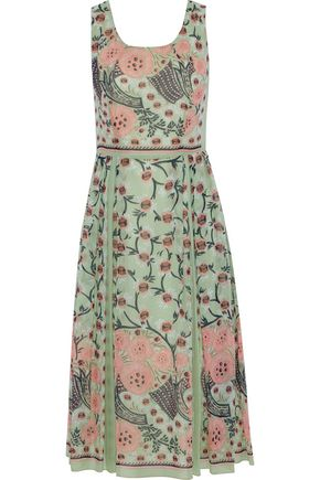 ANNA SUI Pleated printed silk-voile midi dress