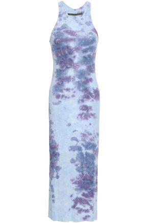 ENZA COSTA Tie-dye ribbed-knit midi dress