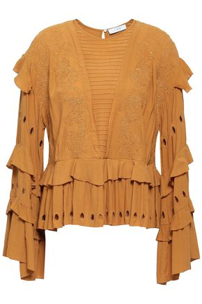 IRO Embroidered tiered crepe blouse