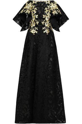 BADGLEY MISCHKA フレア メタリック 刺繡入り ジャカード ロングドレス