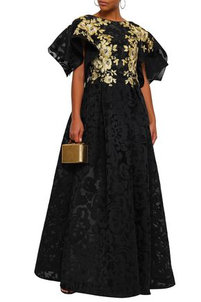 BADGLEY MISCHKA Flared metallic embroidered jacquard gown