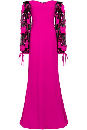 BADGLEY MISCHKA Off-the-shoulder embellished tulle and crepe gown