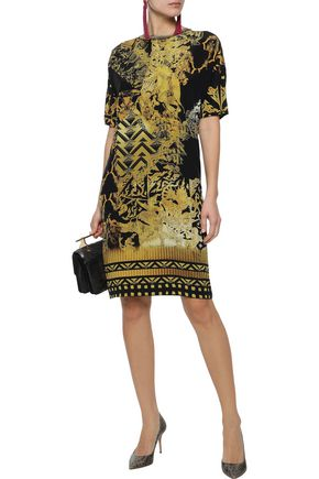 ETRO Metallic fringe-trimmed printed silk dress