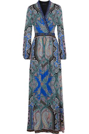 ETRO Embellished printed silk crepe de chine maxi dress