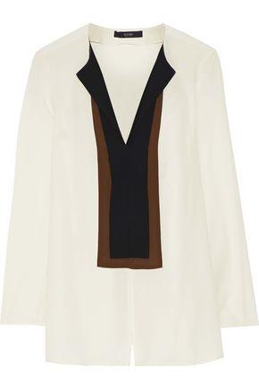 ETRO Paneled washed-silk blouse