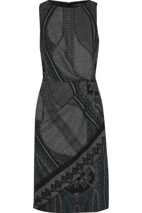 ETRO Gathered wool-blend jacquard dress