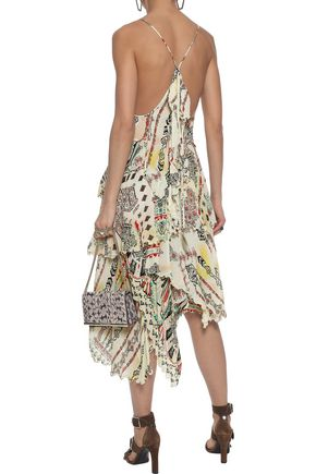 ETRO Asymmetric bead-embellished printed silk-georgette dress