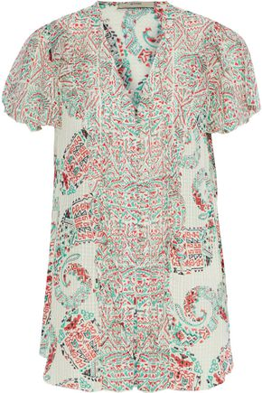 ETRO Ruffle-trimmed printed burnout silk-georgette blouse