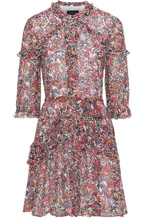 SALONI Tilly Ruffle floral-print silk-chiffon mini dress