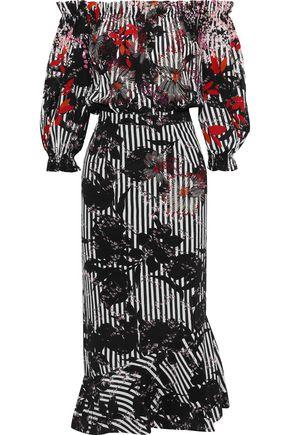 SALONI Grace off-the-shoulder silk-satin jacquard midi dress