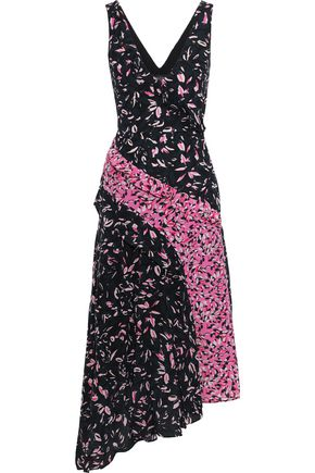 SALONI Aggie paneled printed silk crepe de chine midi dress