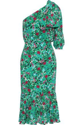 SALONI Juliet one-shoulder floral-print silk crepe de chine midi dress