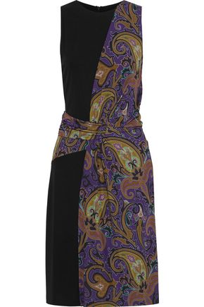 ETRO Paneled draped printed stretch-crepe dress