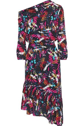 SALONI Lexie asymmetric printed silk crepe de chine dress