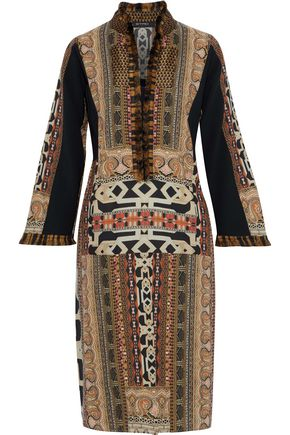 ETRO Fringed jacquard-trimmed printed wool-cady dress