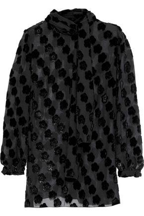 ANNA SUI Metallic fil coupé chiffon blouse