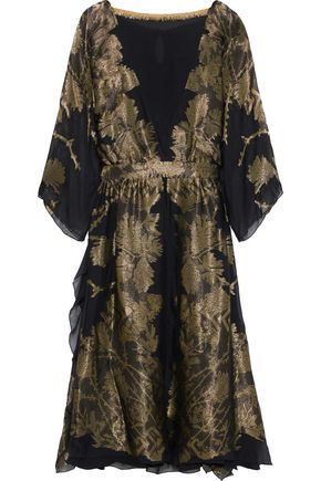 ETRO Layered metallic silk-blend jacquard midi dress