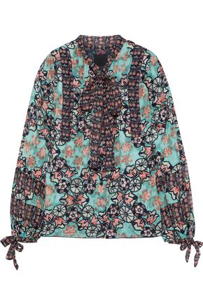 ANNA SUI Pussy-bow printed fil coupé silk-blend shirt