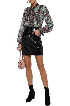 ANNA SUI Pussy-bow printed fil coupé silk-blend shirt
