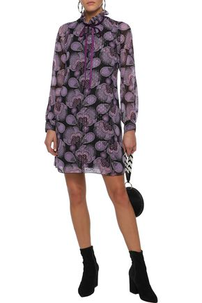 ANNA SUI Velvet-trimmed printed fil coupé chiffon mini dress