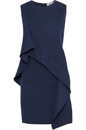 DIANE VON FURSTENBERG Draped linen-blend twill mini dress