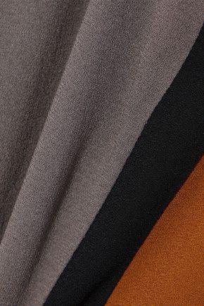 ETRO Cutout pleated printed crepe and jacquard midi dress