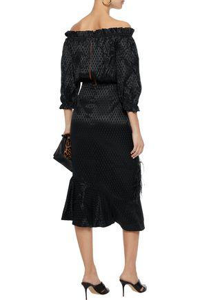 SALONI Grace off-the-shoulder printed silk-crepe midi dress