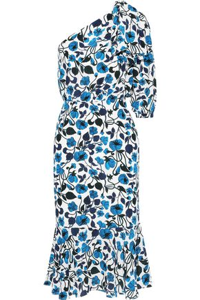 SALONI Juliet one-shoulder floral-print silk crepe de chine midi dress