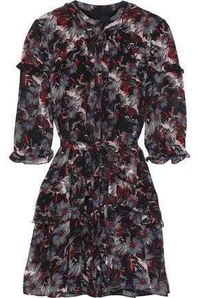 SALONI Tilly Ruffle floral-print silk-chiffon mini dress
