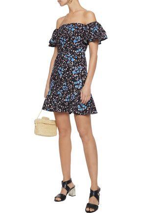 SALONI Amelia off-the-shoulder ruffled floral-print cady mini dress