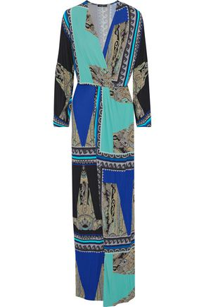 ETRO Wrap-effect printed stretch-jersey maxi dress