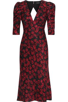 SALONI Colette silk-satin floral-jacquard midi dress