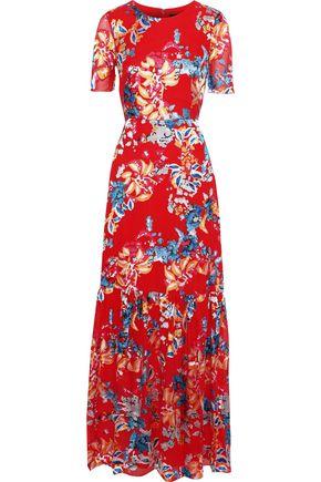 SALONI Lorna floral-print fil coupé chiffon maxi dress