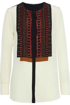 ETRO Appliquéd washed-silk blouse