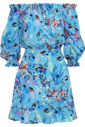 SALONI Grace off-the-shoulder floral-print silk crepe de chine mini dress