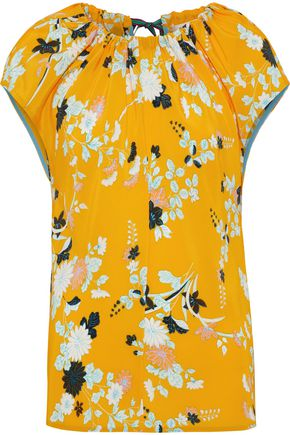 DIANE VON FURSTENBERG Gathered floral-print washed-silk top