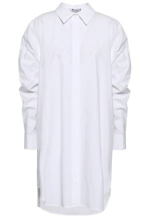 ALEXANDERWANG.T Ruched cotton-poplin mini shirt dress