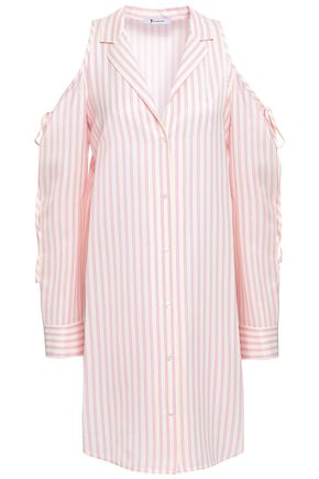 T by ALEXANDER WANG Cold-shoulder striped twill mini shirt dress