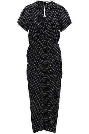 T by ALEXANDER WANG Striped twill midi dress