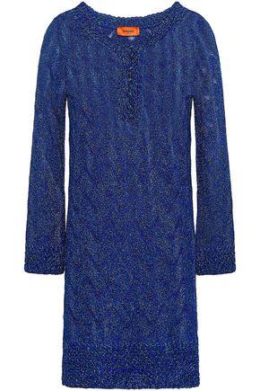 MISSONI Macramé-trimmed metallic crochet-knit mini dress