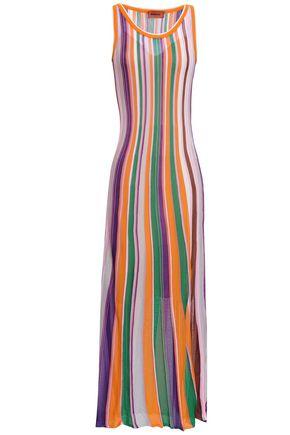 MISSONI Striped crochet-knit stretch-silk midi dress