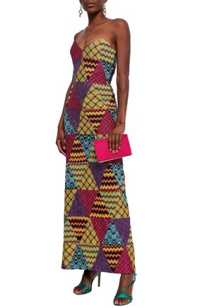 MISSONI Strapless patchwork-effect metallic crochet-knit maxi dress